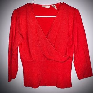 Apostrophe V Neck Red Sweater